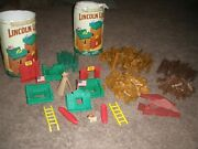 Vtg Lincoln Logs Frontier Fort Huge Lot All Assorted Wooden Pieces Building Toy