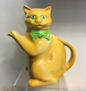 1930and039s Wood And Son Pussyfoot Cat Teapot - Rare Colour And039yellowand039