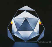 New In Box Steuben Glass Octron Ornamental Crystal Paperweight Prism Galaxy Art