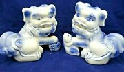 Pair Blue And White Porcelain Foo Dog Statues | Protection Figures