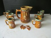 Stoneware Pottery Set Of 6 Hand-sculpted Unique Cups And Picture Picture Broken