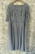 Nightingales Lace Detail 3/4 Sleeve Dress Silver Grey Plus Size 22 Zip