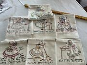 7 Vintage Days Of The Week Linen Dish Towels Hand Embroidered Nufresh Colorful