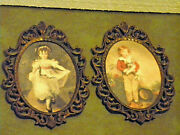 2 Vntg Ornate Oval Bronze Picture Frames W/boy And Girl Approx. 10 X 6 3/4 Italy