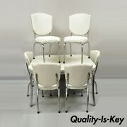 Vintage 1952 Kitchen Dining Set Retro Metal Formica Table 6 Chairs - 7 Piece Set