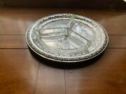 Antique, Alexander Sturm, 800 Silver And Cut Glass, 3-section Serving Dish, C.1925
