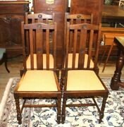 Set Of 4 English Antique Oak Barley Twist New Upholstered Chairs