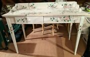 Vintage Artist Hand Oil Painted Antique Girls Desk White W Pink Roses Beautiful
