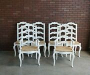 Country French Ladderback Dining Chairs Rush Seat Dining Chairs Set Of 6