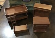 16 Piece/3 Room Antique Red Top Toys Miniature Furniture