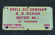 Vtg Antique Shell Oil Company Gas Corp Porcelain Lease Oilfield Well Sign