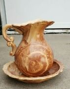 Emil Cahoy Handcrafted Swirled Pottery Colome South Dakota Pitcher And Bowl