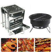Bbq Grill Stove Portable Charcoal Wood Barbeque Oven Garden Outdoor Camping Us