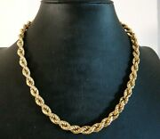 Vintage Necklace Collier Made In Italy Jersey Torchon Yellow Gold Solid 18k