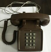 Vintage Landline 80and039s Digitone Push Button Brown Desk Phone Made In Canada