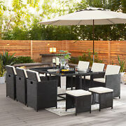 11pc Patio Dining Sets Outdoor Space Saving Rattan Chairs W/ Glass Table And Stool