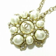 Coco Mark Necklace Ivory Silver Clear Metal Material Rhinestone