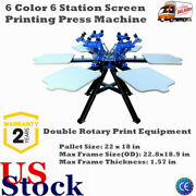6 Color Screen Printing Press 6 Station Printer Double Rotary Print Machine New