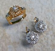 French 18ct Gold And Diamond - Ring And Earrings - C.1940/1950