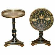 Pair Of Hand Painted Vintage Tilt Top Side Lamp Tables With Brass Gallery Rails
