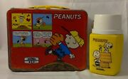 Vintage Peanuts Red Metal Lunchbox Snoopy Charlie Brown With Thermos
