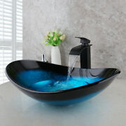 Us Bathroom Tempered Glass Vessel Sink Oval Bowl Waterfall Faucet Set Mixer Tap