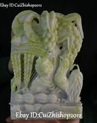 11 Natural Lantian Green Jade Carving Rooster Cock Chicken Corn Wheat Statue