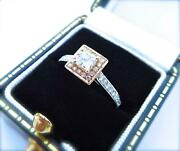 Engagement Ring 14ct Rose And White Gold Vintage Edwardian Antique Style