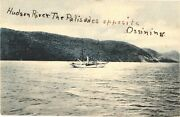 Boats Passing Hudson River, The Palisades Opposite Ossining, New York Postcard