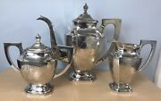 Antique Matched 3 Piece Chinese Silver Teaset 1269 Grams Needs Minor Tlc