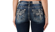 Miss Me Indigo Wing In Cross Mid Rise Bootcut Jeans M3773b