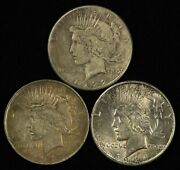 Lot Of 1922-s, 1922 And 1924 1 Peace Silver Dollars - Free Shipping Usa