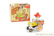 """Marx Tin And Plastic Lithographed Windup """"the Milton Berle Car"""" Wacky Jeep In Box"""