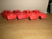 Marx Train Playset 2x Ford,2x Chevy Red Plastic Gas Station Cars 33