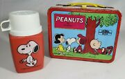 Vintage Peanuts Red Metal 1970s Lunchbox Snoopy Charlie Brown And Snoopy Thermos