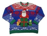 Jolly Sweaters Womenand039s Xl Ugly Christmas Sweater Blue W/red White Santa Claus