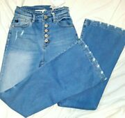 Women's Kancan Curvy High Rise Button Up Distressed Jeans Sz 5/25