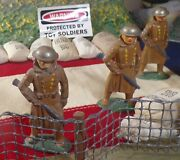 Lot Of 3 Vintage Toy Soldier Barclay 736 Sentry Winter Trench Coat Blue Rifle