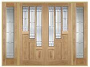 Oak Coventry Elegant Grand Entrance Door Set And Sidelights With Zinc Lead