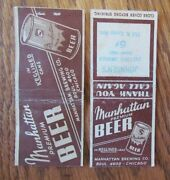 Manhattan Beer Chicago, Illinois, 2 Different Bobtail And Glue Stain On Back G1