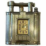 Very Rare Circa 1920and039s Alfred Dunhill Unique Sterling Silver Time Piece Lighter