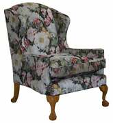 Large Claw And Ball Feet Sinclair Matthews Floral Upholstered Wingback Armchair
