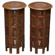 Pair Of Tall Libertyand039s Circa 1900 Syrian Hand Carved Rosewood Side End Tables