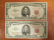 Lot Of 2 - 1963 5 Five Dollar Red Seal U.s. Small Size Notes Circulated Us Bill