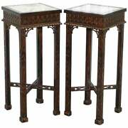 Pair Of Thomas Chippendale Chinese Style Marble And Carved Wood Jardiniere Stands