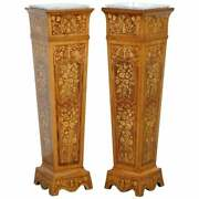 Pair Of Vintage Kingwood And Rosewood + Marble Marquetry Inlaid Jardiniere Stands