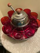 Depression Glass Punch Bowl Toddy Set-rare Ruby And Chrome. Circa 1930andrsquos.