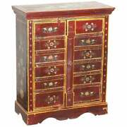 Lovely Circa 1900 Oriental Hand Painted Side Cupboard Bookcase Metal Strap Work