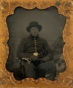 1/6 Tintype Civil War Cavalry Soldier Armed W/ Sword Antique Tin Photo Full Case