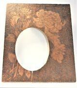 Antique Pyrography Wood Burned Picture Frame, Mums, Oval Opening No Glass 8 X 10